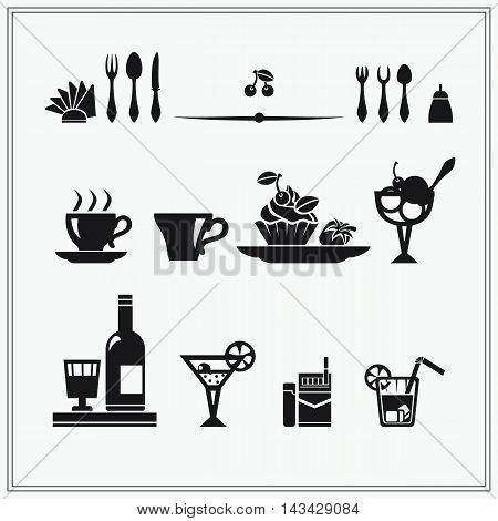 Restaurant menu icons and design elements. Vector illustration.