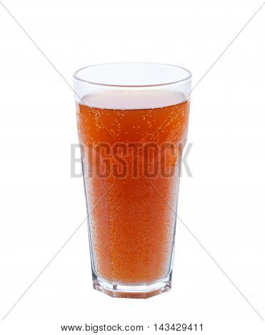 A Large Glass Of Kvass Isolated On White Background