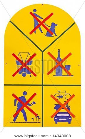 Park sign showing forbidden activities with clipping path