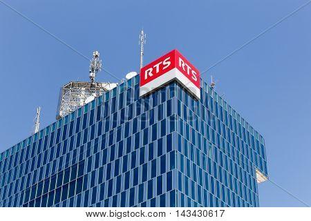 Geneva, Switzerland - August 14, 2016:  RTS building in Geneva. The RTS Radio Télévision Suisse is a Swiss public broadcasting organisation