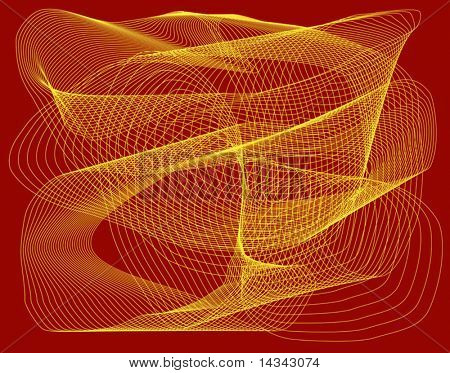 Abstract vector background of yellow waveform on red