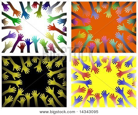 Vector background designs of rings of hands reaching inwards