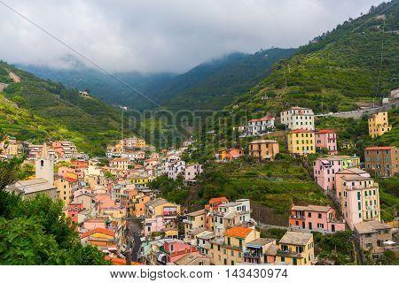 Aerial View Of Riomaggiore In Italy