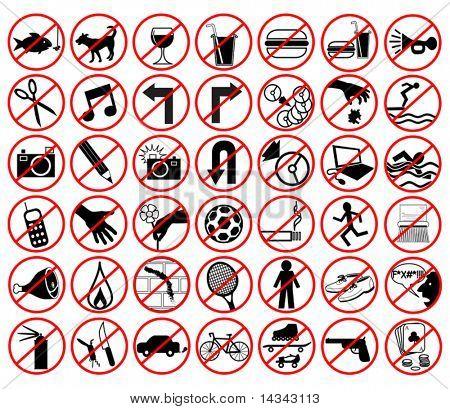 Satz von bearbeitbaren Vektor-Icons Verbotene Aktivitäten