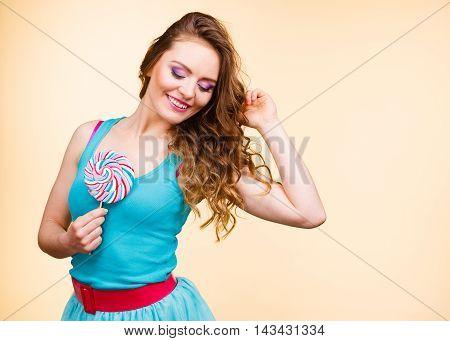 Woman Joyful Girl With Lollipop Candy