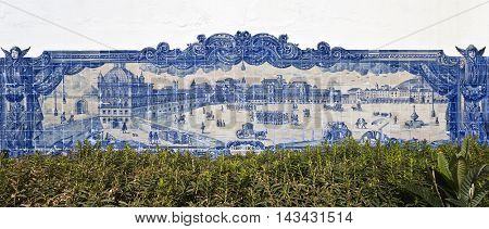 LISBON, PORTUGAL - September 30, 2015: Detail of the tile panel depicting the Comercio Square in the 18th century before the 1755 earthquake on September 30, 2015 in Lisbon, Portugal