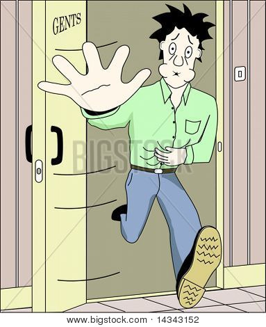 Vector illustration of man running to toilet with background on a separate layer