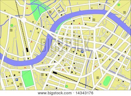 Streetmap vetor de uma cidade genérica sem nomes
