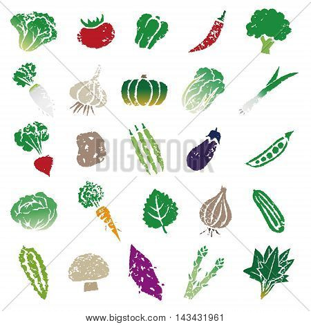 Various vegetable icon illustration set in color