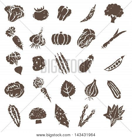 Various vegetable icon illustration set in brown