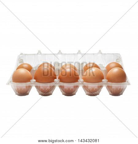 Raw Eggs In A Plastic Bag Isolated On White Background