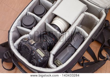 AREQUIPA PERU - AUGUST 20 2016: Professional Photography Equipment in Protective Backpack