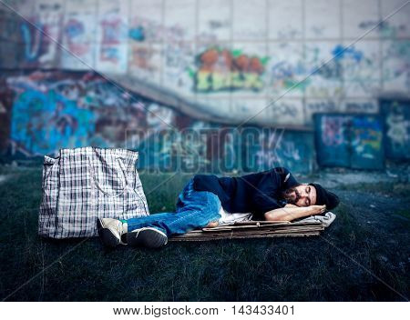 Vagrant sleeping outside