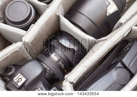 AREQUIPA PERU - AUGUST 20 2016: Detail of Professional Photography Equipment in Protective Backpack
