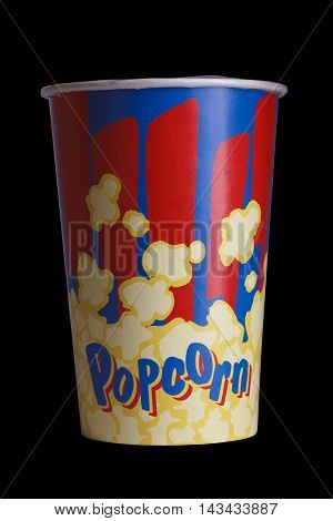 Full Bucket Of Popcorn. Isolated On Black Background.
