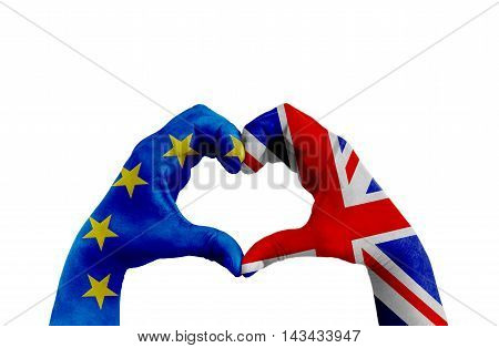 Brexit, Hands Of Man In Heart Shape Patterned With The Flag Of Blue European Union Eu And Flag Of Gr
