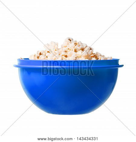 Salted Popcorn Grains In Blue Dish On White Background