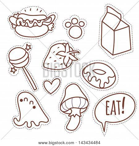 Set cartoon patch badges or fashion pin badges.Hand drawn vector line sketch.