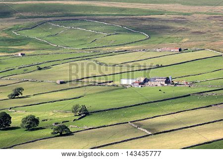 A patchwork of fields from near Marske in the Yorkshire Dales