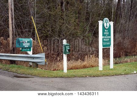 WEQUETONSING, MICHIGAN / UNITED STATES - DECEMBER 22, 2015: The mailbox of the Wequetonsing Landowners' Association stands on Pennsylvania Avenue in Wequetonsing.