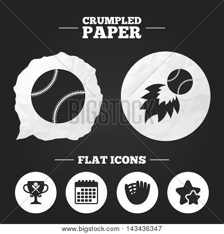 Crumpled paper speech bubble. Baseball sport icons. Ball with glove and two crosswise bats signs. Fireball with award cup symbol. Paper button. Vector