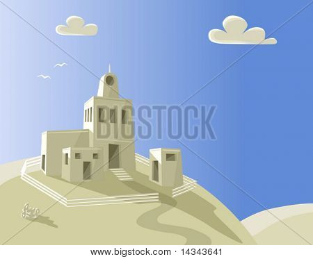Editable vector illustration of an adobe homestead on a hilltop