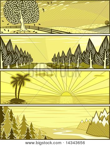Conjunto de editable vector banner ilustraciones de paisajes