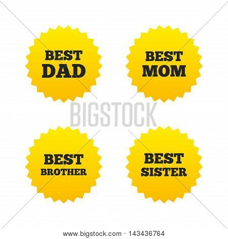 Best mom and dad, brother and sister icons. Award symbols. Yellow stars labels with flat icons. Vector