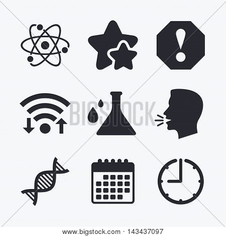 Attention and DNA icons. Chemistry flask sign. Atom symbol. Wifi internet, favorite stars, calendar and clock. Talking head. Vector