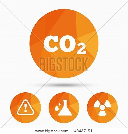 Attention and radiation icons. Chemistry flask sign. CO2 carbon dioxide symbol. Triangular low poly buttons with shadow. Vector