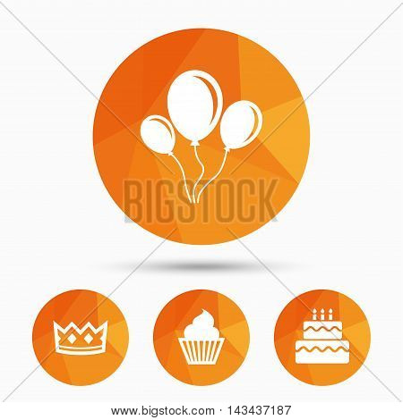 Birthday crown party icons. Cake and cupcake signs. Air balloons with rope symbol. Triangular low poly buttons with shadow. Vector