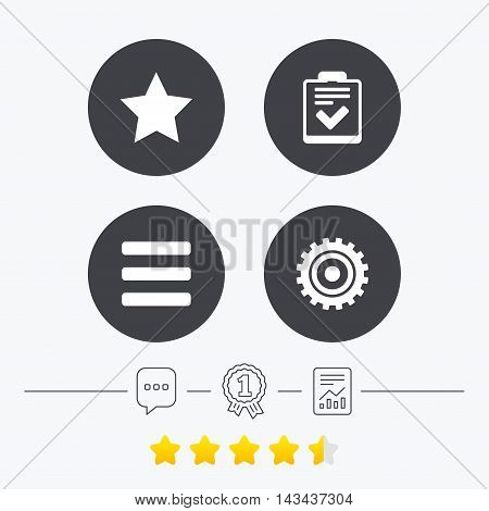 Star favorite and menu list icons. Checklist and cogwheel gear sign symbols. Chat, award medal and report linear icons. Star vote ranking. Vector