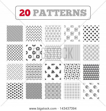 Ornament patterns, diagonal stripes and stars. Plus add circle and puzzle piece icons. Document file and globe with hand pointer sign symbols. Geometric textures. Vector