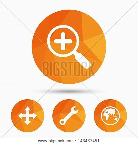 Magnifier glass and globe search icons. Fullscreen arrows and wrench key repair sign symbols. Triangular low poly buttons with shadow. Vector