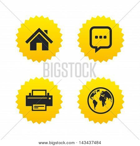 Home main page and globe icons. Printer and chat speech bubble with suspension points sign symbols. Yellow stars labels with flat icons. Vector