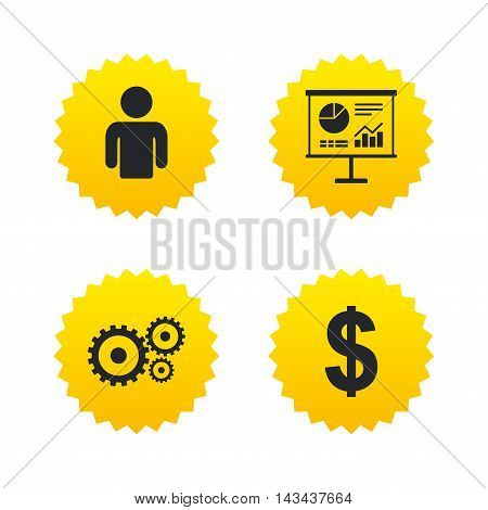 Business icons. Human silhouette and presentation board with charts signs. Dollar currency and gear symbols. Yellow stars labels with flat icons. Vector
