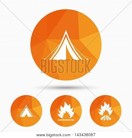 Tourist camping tent icons. Fire flame sign symbols. Triangular low poly buttons with shadow. Vector