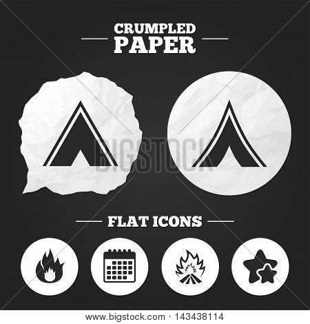 Crumpled paper speech bubble. Tourist camping tent icons. Fire flame sign symbols. Paper button. Vector