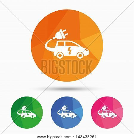 Electric car sign icon. Hatchback symbol. Electric vehicle transport. Triangular low poly button with flat icon. Vector
