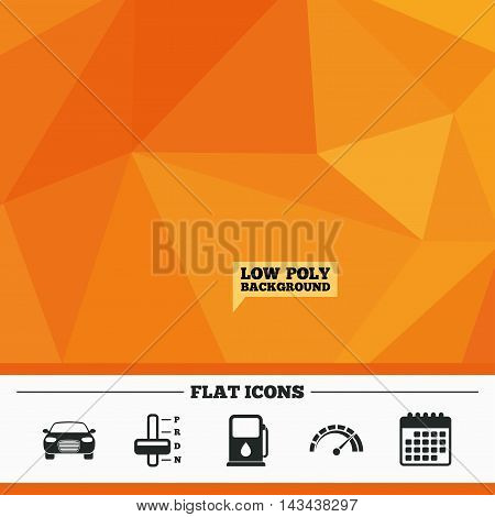 Triangular low poly orange background. Transport icons. Car tachometer and automatic transmission symbols. Petrol or Gas station sign. Calendar flat icon. Vector
