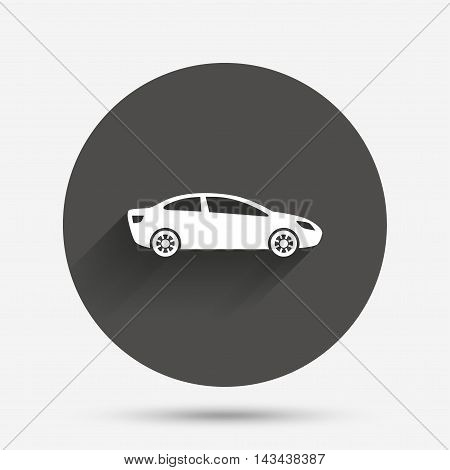 Car sign icon. Sedan saloon symbol. Transport. Circle flat button with shadow. Vector
