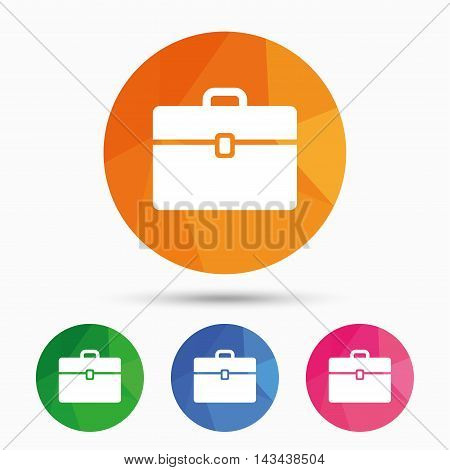 Case sign icon. Briefcase button. Triangular low poly button with flat icon. Vector