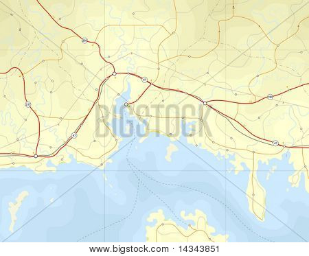 Generic editable vector map of a coastline with no names