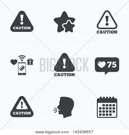 Attention caution icons. Hazard warning symbols. Exclamation sign. Flat talking head, calendar icons. Stars, like counter icons. Vector
