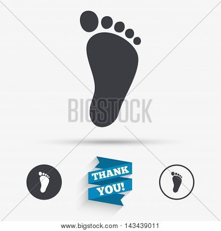 Child footprint sign icon. Toddler barefoot symbol. Flat icons. Buttons with icons. Thank you ribbon. Vector