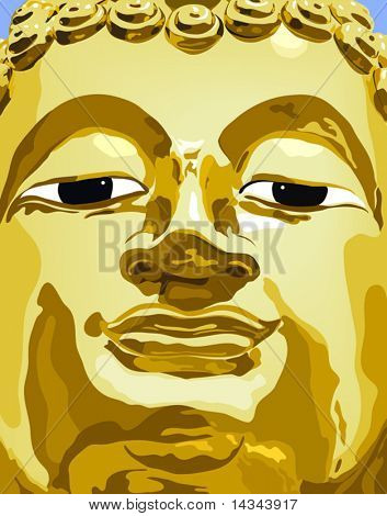 Editable vector illustration of a Buddha statue's face