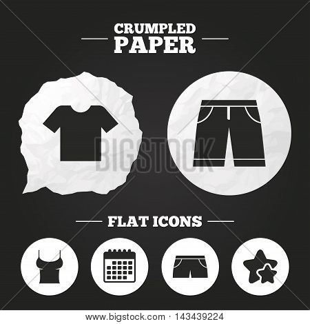 Crumpled paper speech bubble. Clothes icons. T-shirt and bermuda shorts signs. Swimming trunks symbol. Paper button. Vector