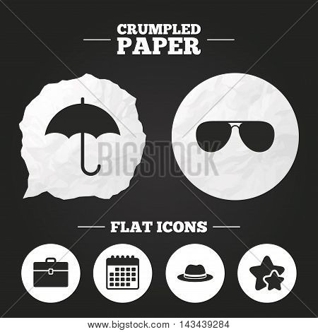 Crumpled paper speech bubble. Clothing accessories icons. Umbrella and sunglasses signs. Headdress hat with business case symbols. Paper button. Vector