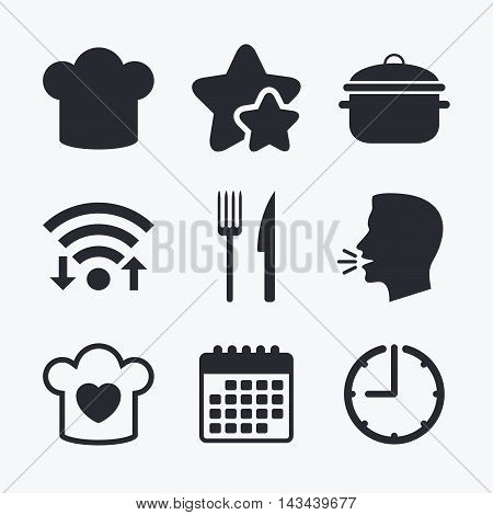 Chief hat and cooking pan icons. Fork and knife signs. Boil or stew food symbols. Wifi internet, favorite stars, calendar and clock. Talking head. Vector