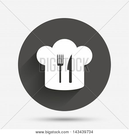 Chef hat sign icon. Cooking symbol. Cooks hat with fork and knife. Circle flat button with shadow. Vector